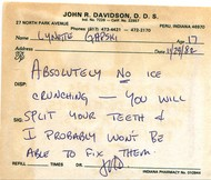 Personalized note from my dentist warning me about the long-term dangers of crunching ice.